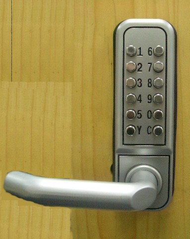 Change code without dismount lock from door, Change code in 1 minute, Mechanical coded lock, no battery require, Zinc-alloy and stainless steel material, Open door by using lever